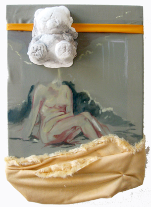 'My Fight with a Lamppost ...(Nude Toys)' / 2010 / 40 x 30cm / Plastic, Oil and Canvas