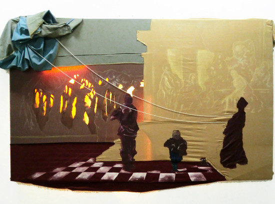 'Using Locusts for Enchantment' / 2011 / 240 x 150 cm/ Oil on Fabric, Mixed media and neon light