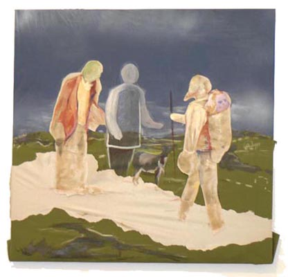 'The Meeting of the 3' / 2008 / 62 x 64 cm / Oil on Philly fabric