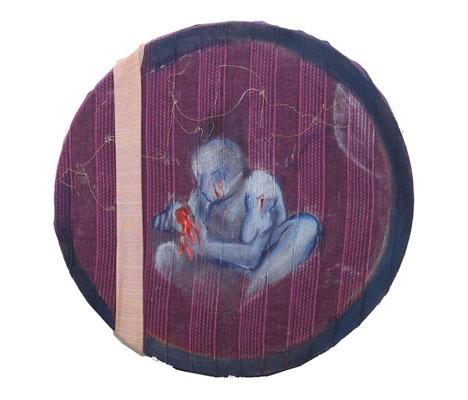 Broken Ideas / 2007 / Diameter 30 cm / Oil on Indian Fabric Scraps