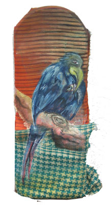 Birds Up / 2007 / 30 x 12 cm / Oil on Indian Fabric Scraps In private collection