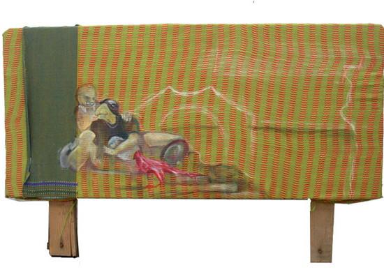 Maroon Fluid / 2008 / 30 x 60 cm / Oil on Indian Fabric Scraps