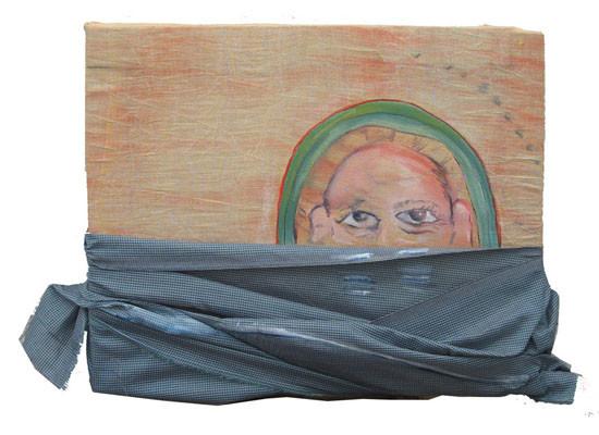Rough Night / 2007 / 30 x 24 cm / Oil on Indian Fabric Scraps