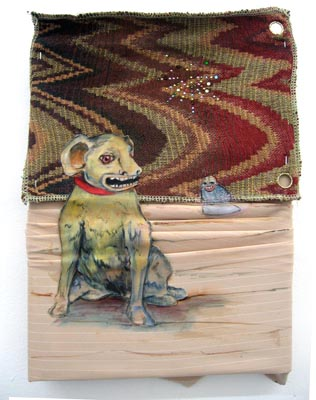 Good Gracious Gruffness / 2007 / 18 x 12 cm / Oil on Philly fabric In private collection