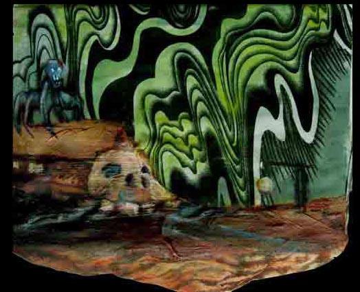 Death train to the Trauma of Ulaanbator / 2007 / 40 x 30 cm / Oil on Ghanaian Fabric Scrap
