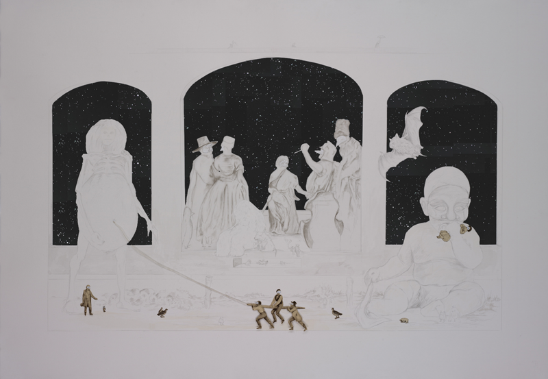Il Fazzoletto - Graphite and Charcoal on cut paper, 127x 231 cm 2011