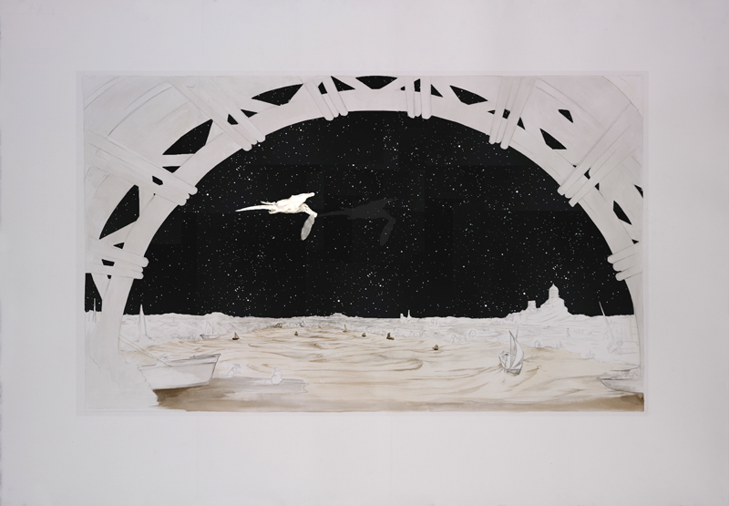 Il Fazzoletto - Graphite and Charcoal on cut paper, 127x 231 cm 2011