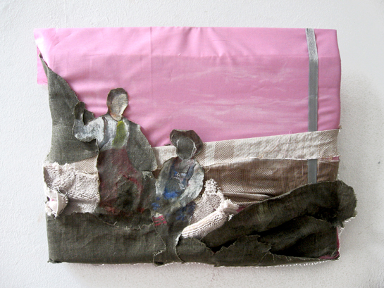 'Discovering Young Burdens ' / 2010 / 40 x 32 cm/ Oil and Fabric