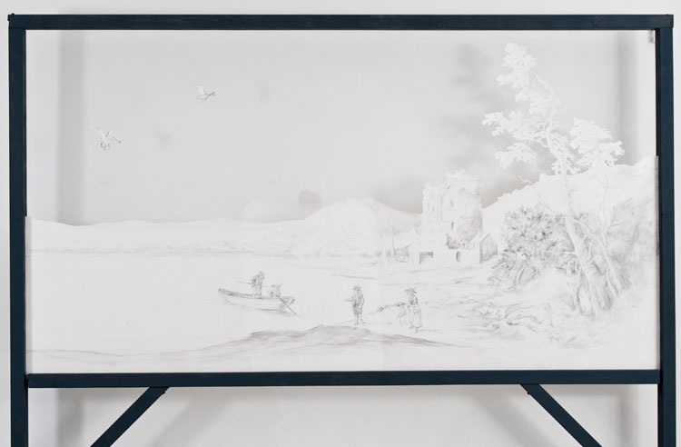 A Moveable Feast - Graphite and Charcoal on cut paper, 127x 231 cm 2011